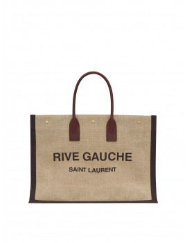 SAINT LAURENT RIVE GAUCHE TOTE BAG IN PRINTED LINEN AND LEATHER 4992902MF3W2076