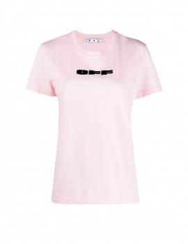 OFF-WHITE WOMEN'S OFF BOLD FLOCK CASUAL TEE PINK BLACK OWAA049R21JER0073010