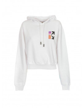 OFF-WHITE GRADIENT CROP HOODIE WHITE MULTICOLOR OWBB016R21JER0010184
