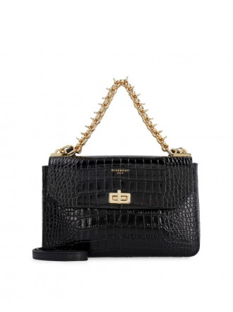 GIVENCHY  CROCODILE EFFECT LEATHER BAG black  - 50% OFF