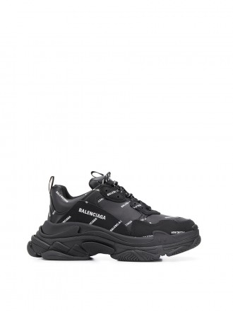 BALENCIAGA ALLOVER LOGO TRIPLE S SNEAKER black