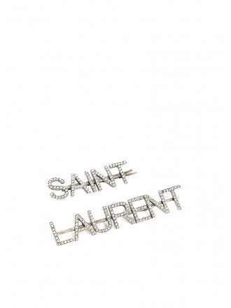 SAINT LAURENT Crystal-embellished slogan barrettes