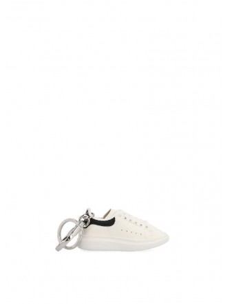 ALEXANDER MCQUEEN White Leather Key Chain