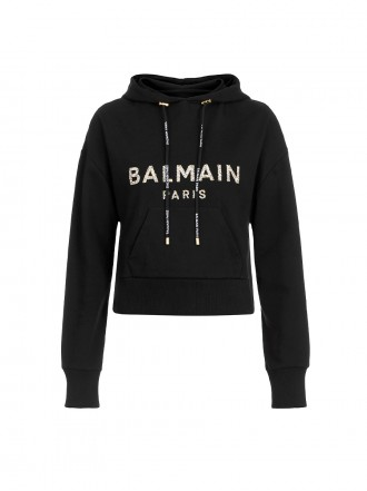 BALMAIN Short black cotton hooded sweatshirt with gold flocked Balmain logo black