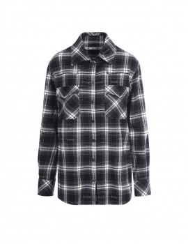 OFF-WHITE CHECK FLANNEL BOXY SHIRT - 50% OFF