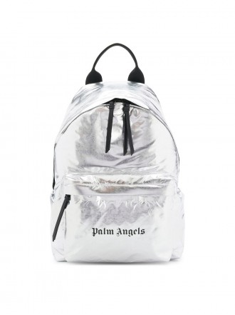 Palm Angels logo print backpack silver