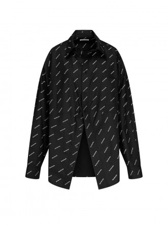 BALENCIAGA  Allover Logo Poplin Shirt black