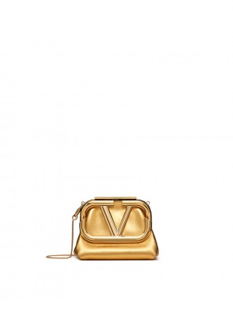VALENTINO GARAVANI MINI SUPERVEE METALLIC NAPPA CLUTCH gold