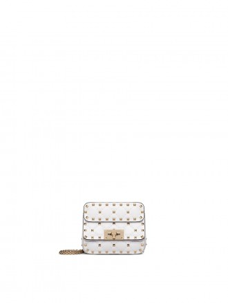 VALENTINO GARAVANI MICRO ROCKSTUD SPIKE NAPPA LEATHER BAG optic white