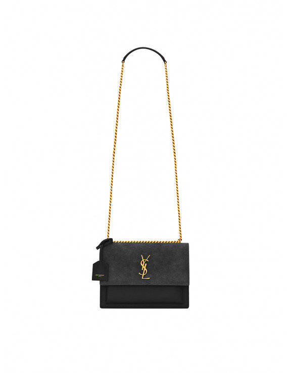 SAINT LAURENT  SUNSET MEDIUM IN SUEDE AND SMOOTH LEATHER 1207249