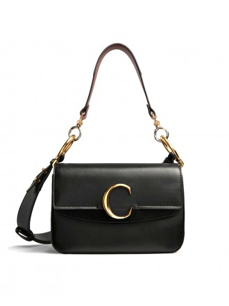 """CHLOE Small Chloé """"C"""" double carry bag in shiny & suede calfskin 1193228"""