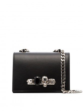 AMQ Alexander McQueen black small jewelled satchel 1190876