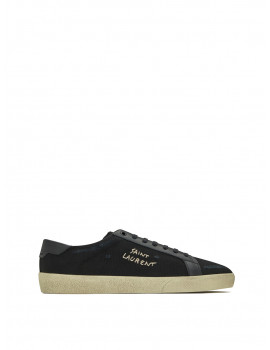SAINT LAURENT COURT CLASSIC SL/06 EMBROIDERED SNEAKERS IN CANVAS AND SMOOTH LEATHER 01205974