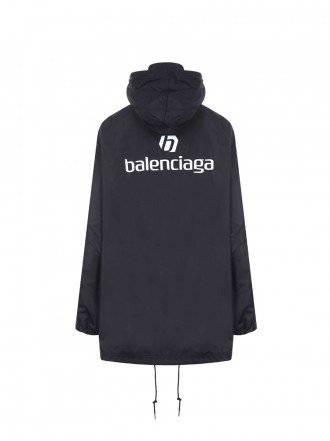 BALENCIAGA: oversize balenciaga embroidered nylon windbreaker Color Black 1207531