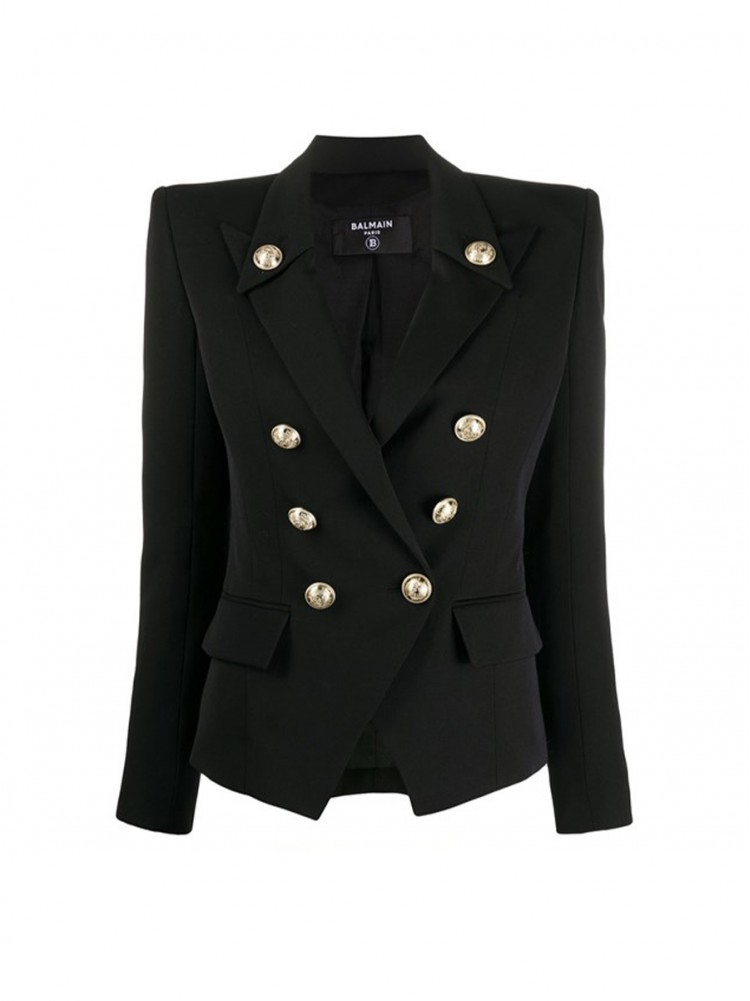 Balmain black wool fabric fitted blazer 01199819