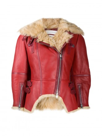 Alexander McQueen shearling lined asymmetric leather jacket 01203722 - 50% OFF