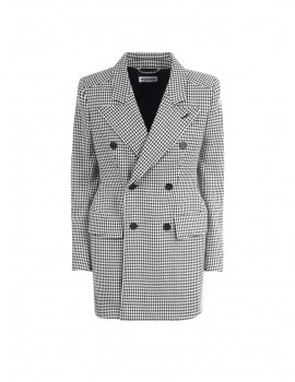 BALENCIAGA: houndstooth wool blend hourglass double-breasted jacket 01206197 - 50% OFF
