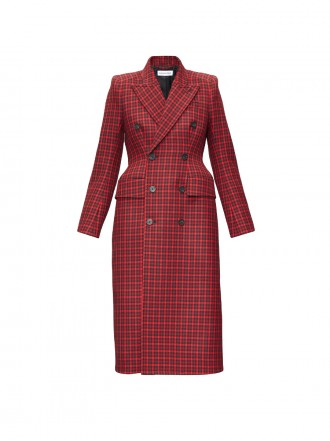 BALENCIAGA  Hourglass tartan wool-twill coat 01206207 - 50% OFF