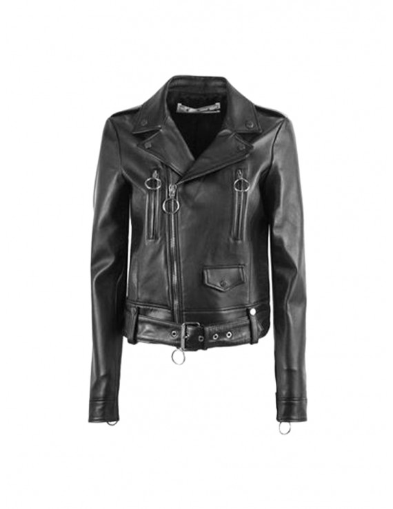 OFF - WHITE Black Leather Outerwear Jacket 1204298