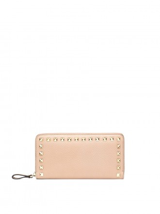VALENTINO GARAVANI LARGE ROCKSTUD GRAINY CALFSKIN WALLET WITH ZIP 1190469