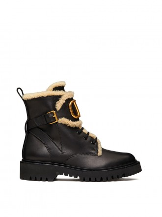 1196480VALENTINO GARAVANI VLOGO CALFSKIN AND SHEARLING COMBAT BOOT 35 MM 1207866