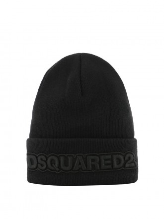 DSQUARED2 DSQUARED2 BLACK RIBBED WOOL BEANIE 01206792