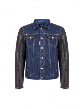 DSQUARED2 Denim And Leather Jacket 1206727 50% OFF