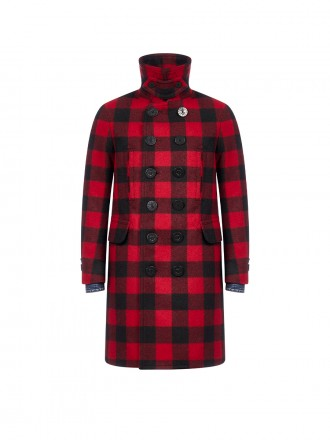 DSQUARED2  Check-motif Double Breasted Wool Coat 1206634 - 50% OFF