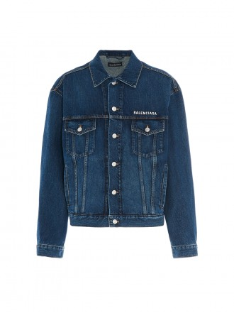 Balenciaga Embroidered logo denim jacket greenblue   01206247