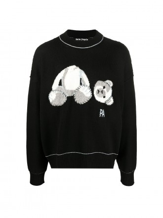 PALM ANGELS MAN BLACK ICE BEAR SWEATER 01204384