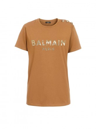 Balmain Hazel cotton T-shirt with bronze Balmain logo print 1206159