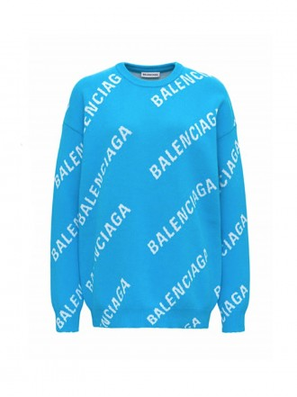 BALENCIAGA SWEATER WITH ALLOVER JACQUARD LOGO light blue