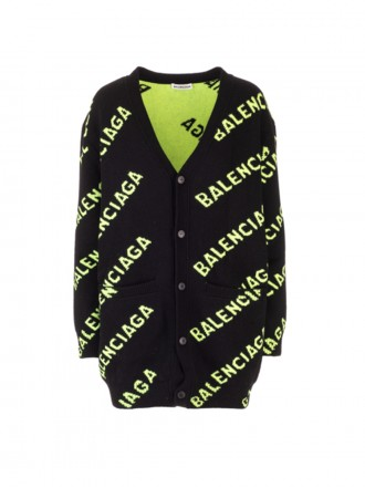 BALENCIAGA black sweater lime logo