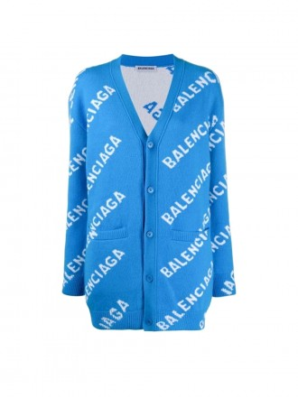 BALENCIAGA Blue And Ivory Over-sized Wool Logo Cardigan blue cardigan