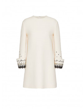 VALENTINO EMBROIDERED CREPE COUTURE DRESS WB3VAWJ21CFQ86