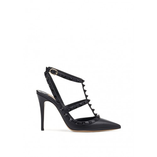 VALENTINO GARAVANI ROCKSTUD ANKLE STRAP PUMP WITH TONAL STUDS 100 MM BLACK 1198194