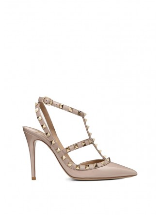VALENTINO PATENT ROCKSTUD CAGED PUMP 100MM - poudre 1198198