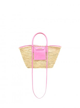 JACQUEMUS Le panier Soleil Straw and leather basket.1208333