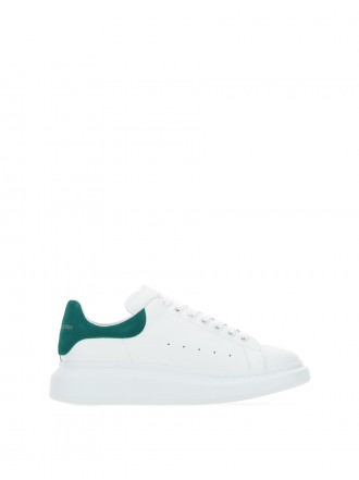 AMQ White leather sneakers with emerald green suede heel 1203725