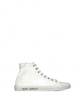 SAINT LAURENT MALIBU MID-TOP SNEAKERS IN CANVAS AND LEATHER 01200625