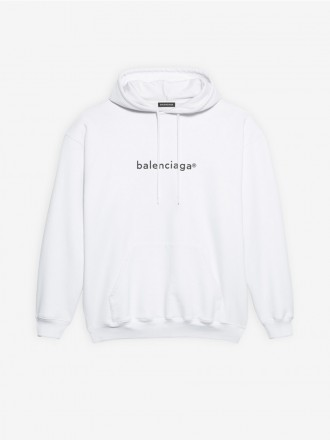 BALENCIAGA  NEW COPYRIGHT MEDIUM FIT HOODIE  New Copyright Medium Fit Hoodie in white curly fleece 01206246
