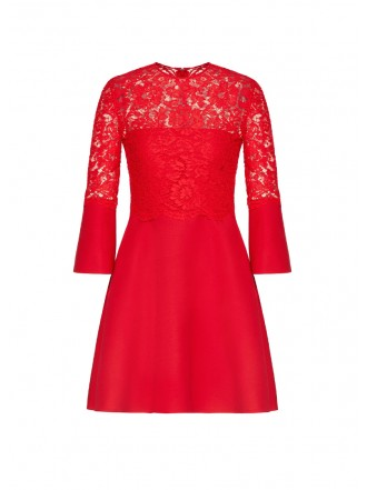 VALENTINO CREPE COUTURE AND HEAVY LACE DRESS
