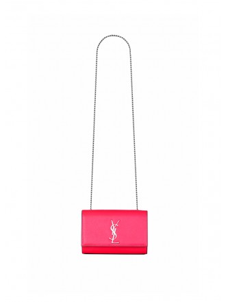 SAINT LAURENT  KATE SMALL IN GRAIN DE POUDRE EMBOSSED PATENT LEATHER pink