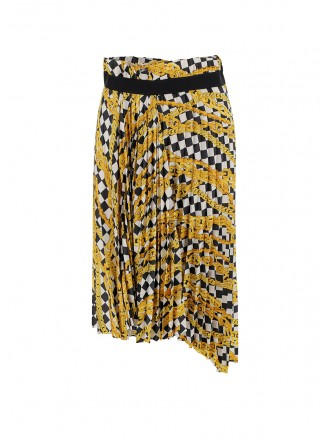 BALENCIAGA PLEATED SKIRT WITH CHAIN ​​PRINT