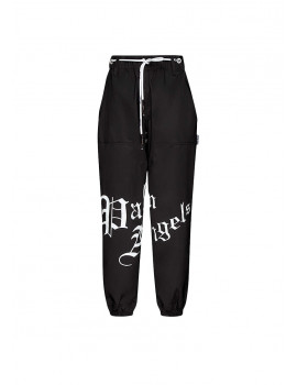 PALM ANGELS Gothic logo-print tapered high-rise stretch-shell trousers 1201144