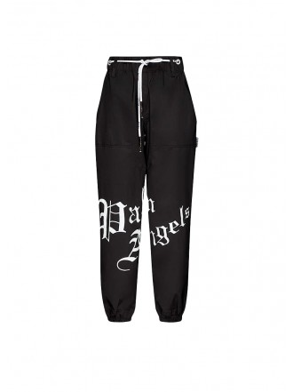 PALM ANGELS Gothic logo-print tapered high-rise stretch-shell trousers