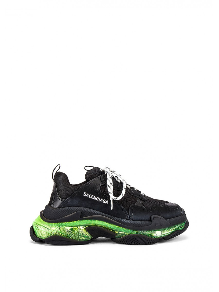 Balenciaga Triple S Clear Sole in Black & Yellow Fluo