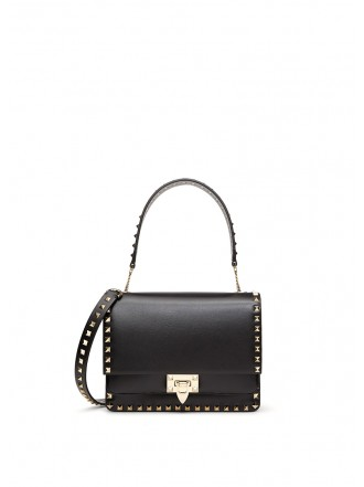 VALENTINO GARAVANI ROCKSTUD SMOOTH CALFSKIN CROSSBODY BAG black
