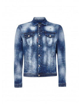DSQUARED2 JACKET  Faded blue cotton denim jacket with splashes of paint and abrasions 1209312