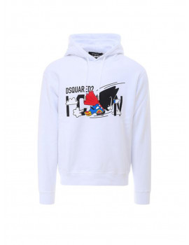 DSQUARED2 CARTOONS PRINT COTTON T-SHIRT IN WHITE 1209448
